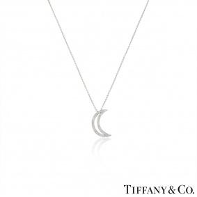 Tiffany & Co. Platinum Diamond Moon Pendant